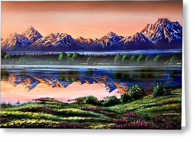Geographic Greeting Cards - The Grand Tetons Greeting Card by Phil Koch