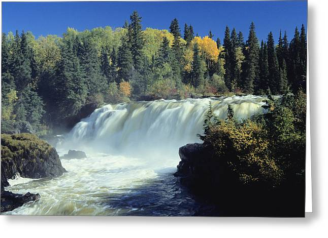 Concept Photographs Greeting Cards - The Grass River Thunders Over Pisew Greeting Card by Raymond Gehman