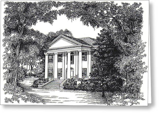 Restoration Drawings Greeting Cards - The Grove Tallahassee Florida Greeting Card by Audrey Peaty