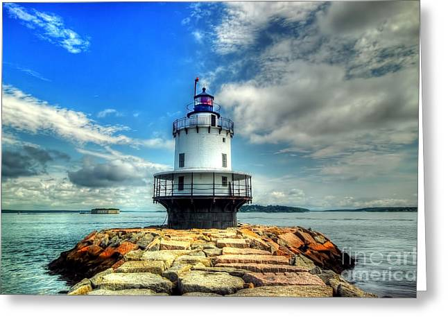 Lighthouse Greeting Cards - The Guiding Light Greeting Card by Arnie Goldstein