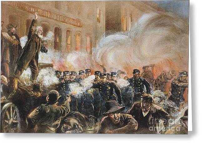 Protesters Greeting Cards - The Haymarket Riot, 1886 Greeting Card by Granger