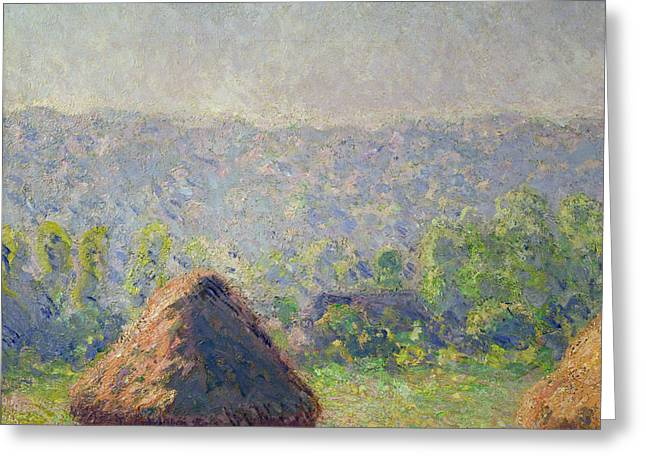 Stack Greeting Cards - The Haystacks Greeting Card by Claude Monet