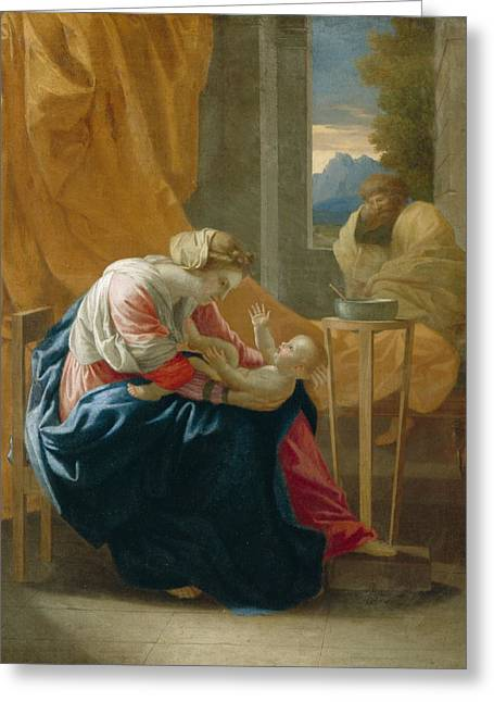 Virgin Greeting Cards - The Holy Family Greeting Card by Nicolas Poussin