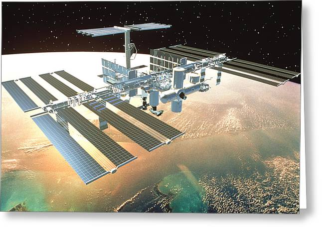 Industrialized Greeting Cards - The International Space Station Greeting Card by Nasa