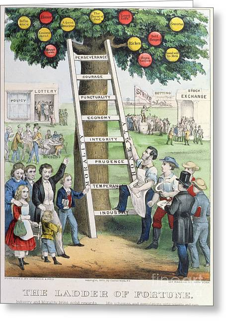 Climb Tree Greeting Cards - The Ladder of Fortune Greeting Card by Currier and Ives