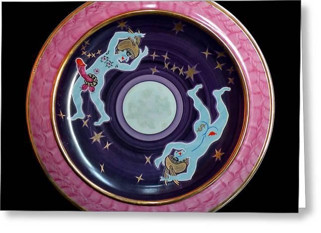 Decoration Ceramics Greeting Cards - The light blue Moon. Greeting Card by Vladimir Shipelyov