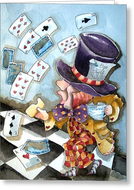 Mad Hatter Greeting Cards - The Mad Hatter Greeting Card by Lucia Stewart