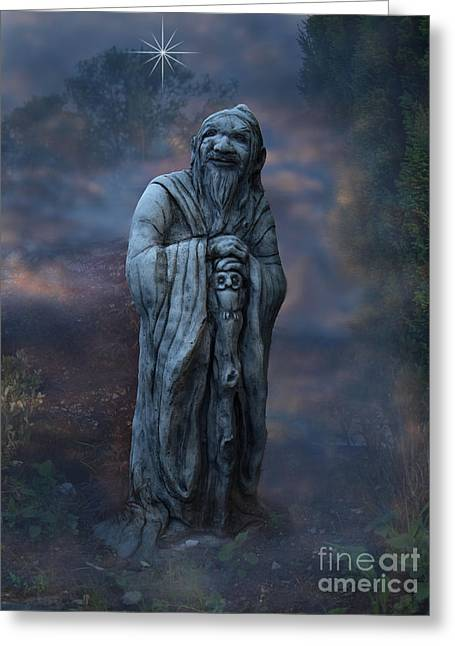 Mage Greeting Cards - The Mage Greeting Card by Steev Stamford