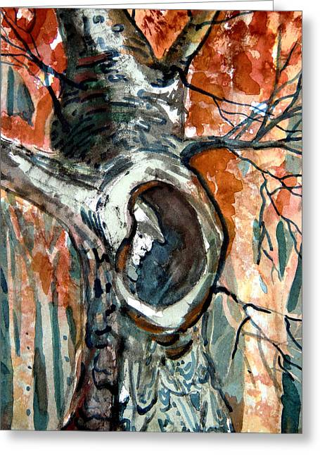 Fall Trees Mixed Media Greeting Cards - The Man in the Tree Greeting Card by Mindy Newman
