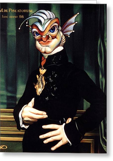 Imaginary Realism Greeting Cards - The Marquis de Piscatorum Greeting Card by Patrick Anthony Pierson