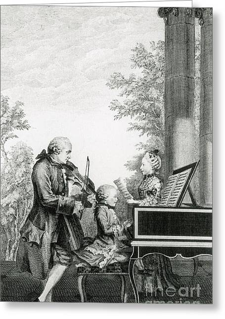 Concerto Greeting Cards - The Mozart Family On Tour, 1763 Greeting Card by Photo Researchers