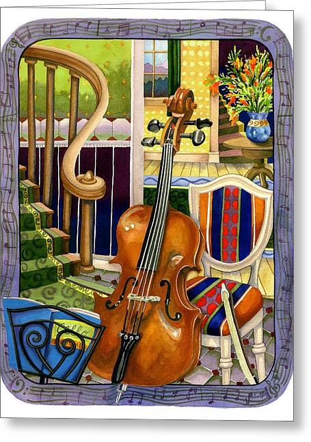 Music Stand Greeting Cards - The Music Lesson Greeting Card by Anne Gifford