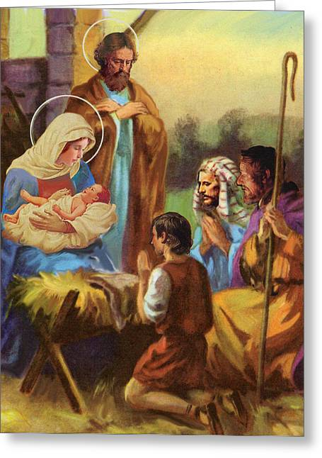 Jesus Pastels Greeting Cards - The Nativity Greeting Card by Valerian Ruppert