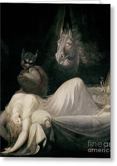Horror Greeting Cards - The Nightmare Greeting Card by Henry Fuseli