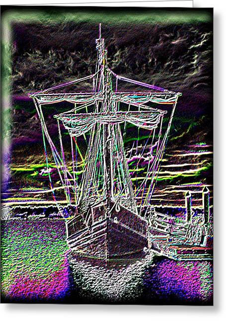 Yellow Sailboats Digital Art Greeting Cards - The Nina Greeting Card by Tim Allen