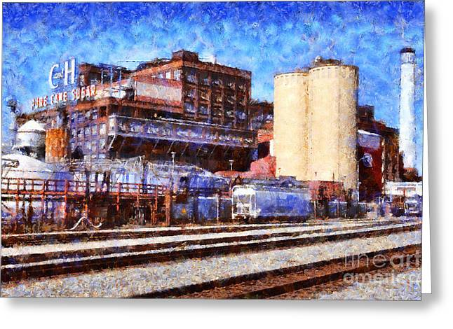 Collar Digital Art Greeting Cards - The Old C and H Pure Cane Sugar Plant in Crockett California . 5D16770 Greeting Card by Wingsdomain Art and Photography