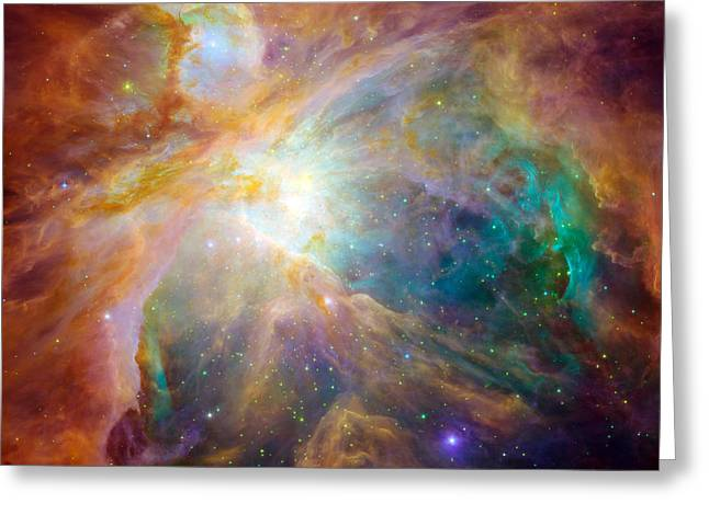 Constellations Photographs Greeting Cards - The Orion Nebula Greeting Card by Stocktrek Images