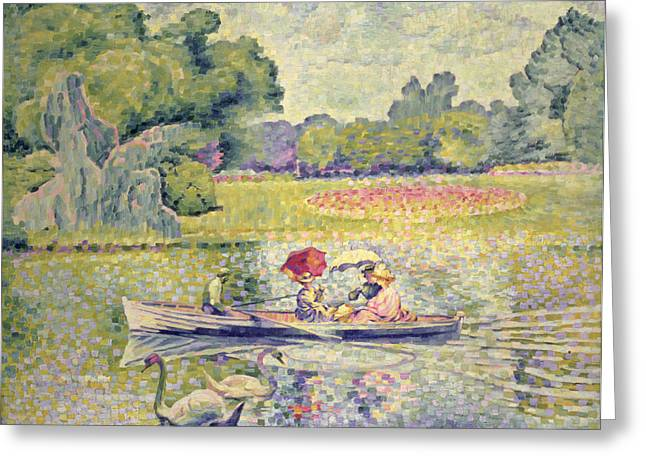 Punting Greeting Cards - The Promenade in the Bois de Boulogne Greeting Card by Henri-Edmond Cross