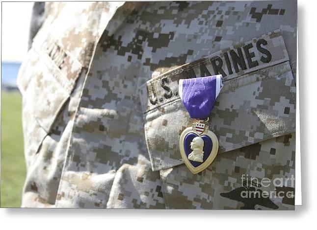 The Purple Heart Award Hangs Greeting Card by Stocktrek Images