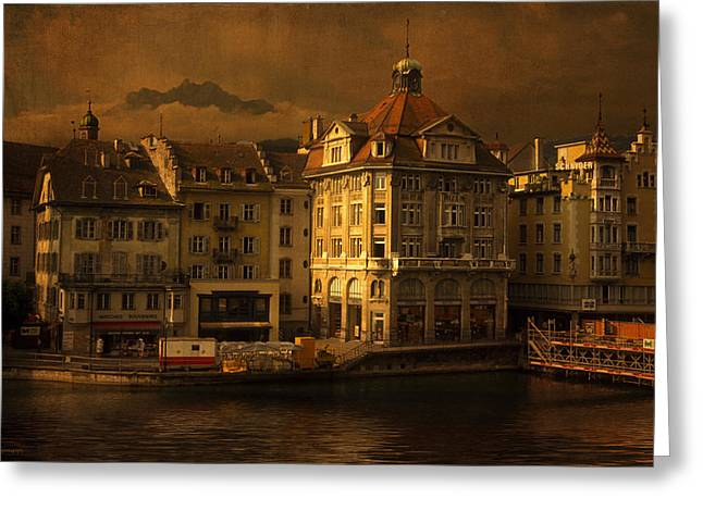 Luzern Greeting Cards - The Reuss Greeting Card by Ron Jones