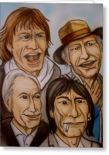 Caricature Portraits Greeting Cards - The Rolling Stones Greeting Card by Pete Maier