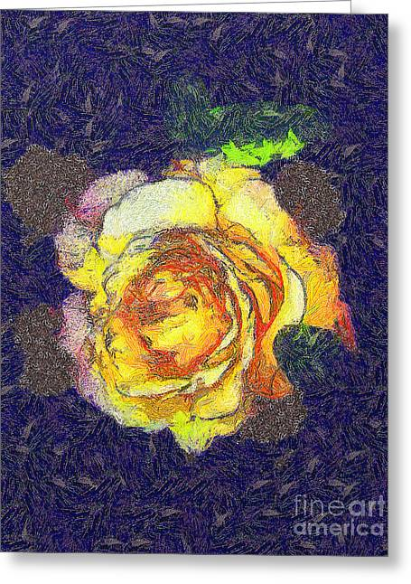 Gold Lame Greeting Cards - The rose Greeting Card by Odon Czintos