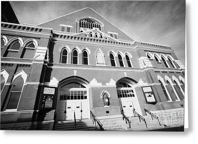 Nashville Tennessee Greeting Cards - The Ryman Auditorium former home of the Grand Ole Opry and gospel union tabernacle Nashville Greeting Card by Joe Fox
