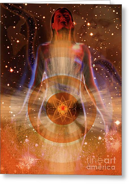 Sacral Chakra Greeting Cards - The Sacral Chakra.  Greeting Card by Leanne M Williams