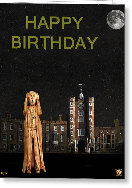 Kate Middleton Greeting Cards - The Scream World Tour St Jamess Palace Happy Birthday Greeting Card by Eric Kempson