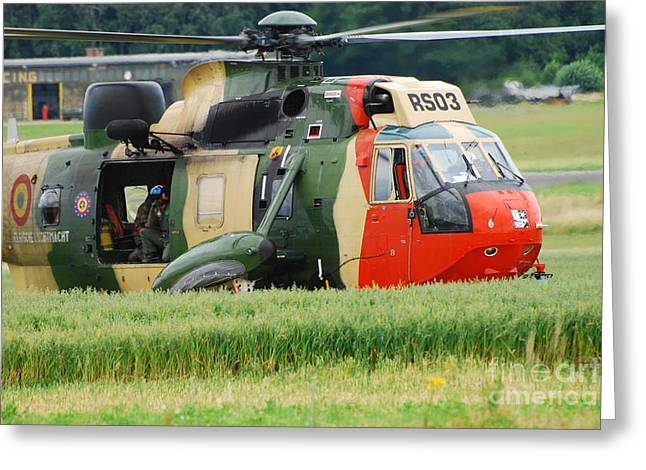 The Sea King Helicopter Of The Belgian Greeting Card by Luc De Jaeger