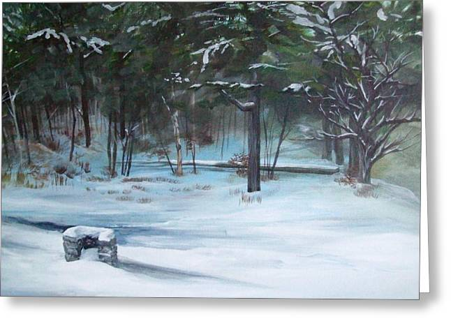 Maine Landscape Paintings Greeting Cards - The Season Has Changed Greeting Card by Chris Wing