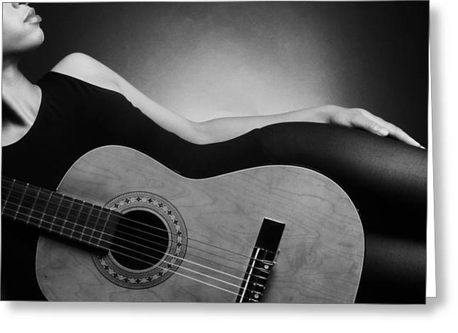 Taliaferro Greeting Cards - The Shape Of Things  Woman and Guitar Greeting Card by Jerry Taliaferro
