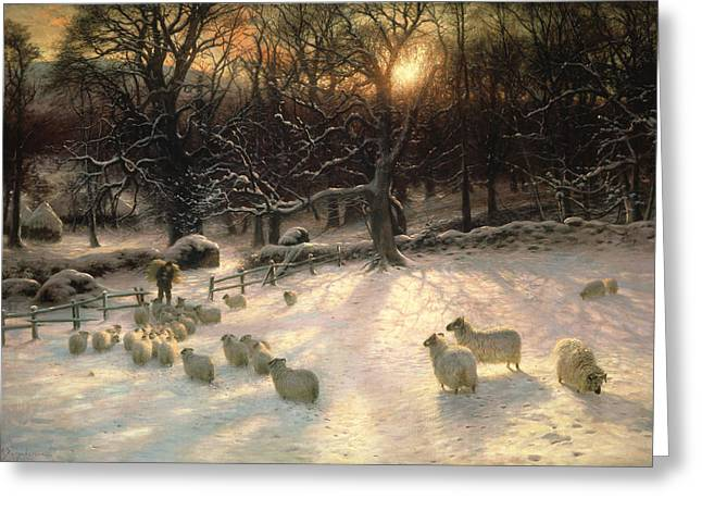 Sunset; Evening; Winter; Snow; Sheep Greeting Cards - The Shortening Winters Day is Near a Close Greeting Card by Joseph Farquharson