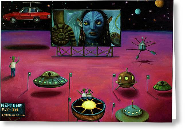 Drive In Movies Greeting Cards - The Sighting At The Neptune Fly In Greeting Card by Leah Saulnier The Painting Maniac