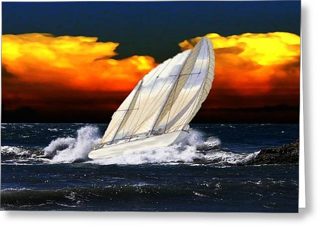 Yellow Sailboats Digital Art Greeting Cards - The Storm Greeting Card by Kenna Westerman