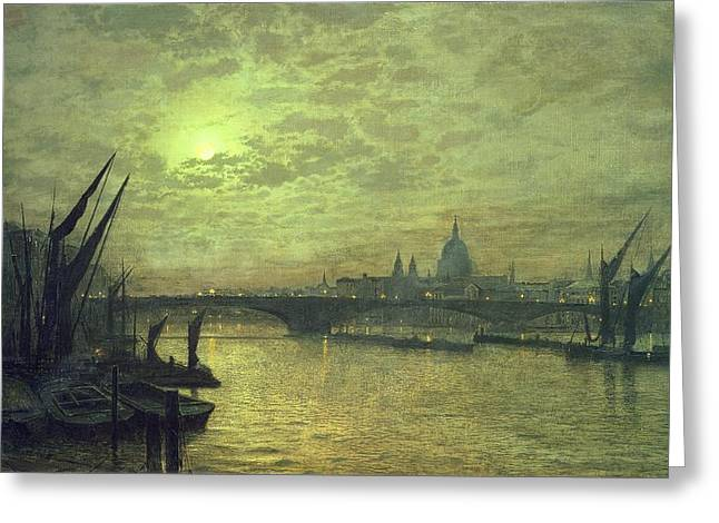 River Paintings Greeting Cards - The Thames by Moonlight with Southwark Bridge Greeting Card by John Atkinson Grimshaw