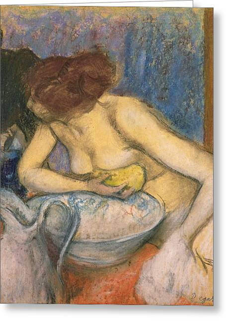 Water Jug Greeting Cards - The Toilet Greeting Card by Edgar Degas