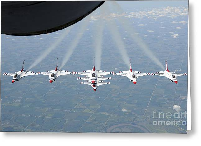Cooperation Greeting Cards - The U.s. Air Force Thunderbird Greeting Card by Stocktrek Images