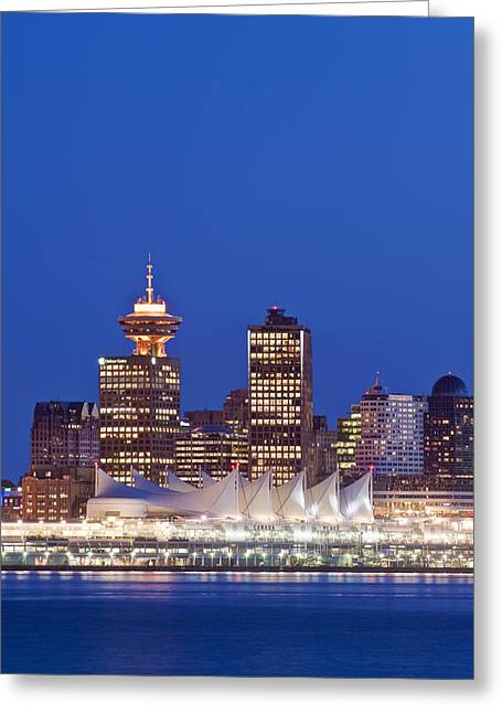 Vancouver Night Scene Greeting Cards - The Vancouver Skyline At Twilight Or Greeting Card by Rob Tilley