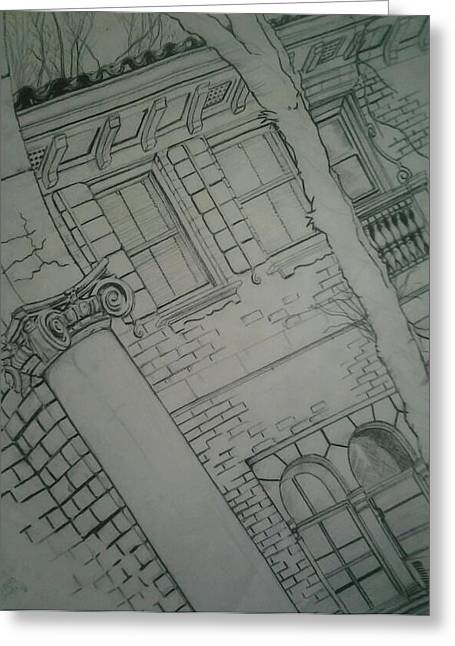 Brick Buildings Drawings Greeting Cards - The View Greeting Card by Nzephany Madrigal Uzoka