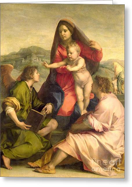 Jesus With Children Greeting Cards - The Virgin and Child with a Saint and an Angel Greeting Card by Andrea del Sarto