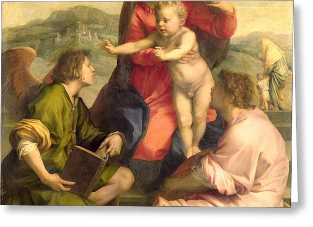 The Virgin and Child with a Saint and an Angel Greeting Card by Andrea del Sarto