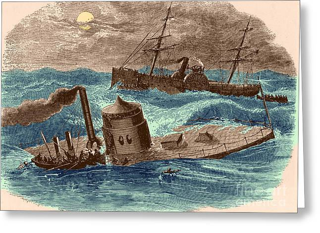 Uss North Carolina Greeting Cards - The Wreck Of The Ironclad Monitor, 1862 Greeting Card by Photo Researchers