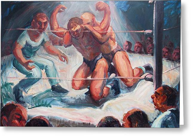 The Wrestling Match In Color Greeting Card by Bill Joseph  Markowski