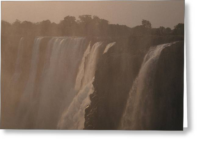 Zambezi River Greeting Cards - The Zambezi River Plummets Greeting Card by Jason Edwards