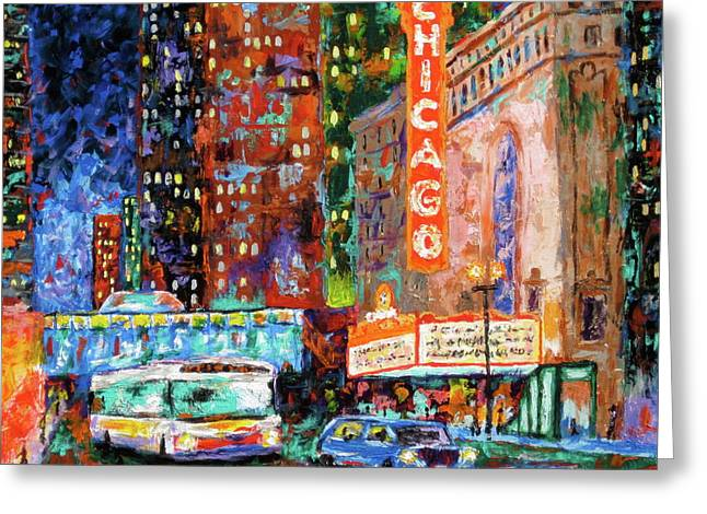 City Lights Greeting Cards - Theater Night Greeting Card by J Loren Reedy