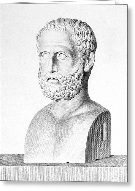 Statue Portrait Photographs Greeting Cards - Theophrastus Greeting Card by Granger
