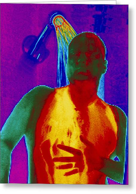 Shower Head Photographs Greeting Cards - Thermogram Of A Man Taking A Shower Greeting Card by Dr. Arthur Tucker