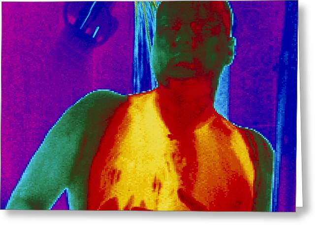 Thermogram Of A Man Taking A Shower Greeting Card by Dr. Arthur Tucker