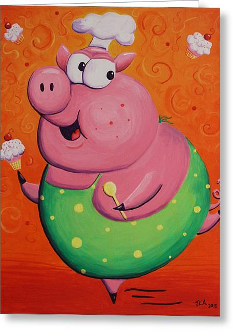 Chef Hat Greeting Cards - This Little Piggy Baked Cupcakes Greeting Card by Jennifer Alvarez